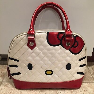 4555d313cbfc Hello Kitty Loungefly Quilted Face Bowler Bag Purse White Red Patent Leather