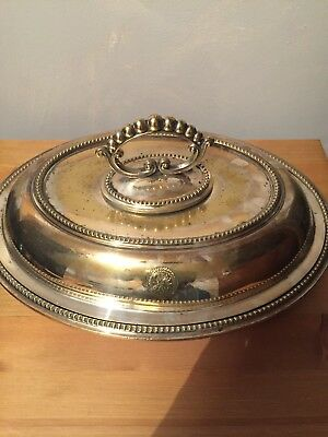 Stunning Antique Silverplate Entree Serving Dish Stamped