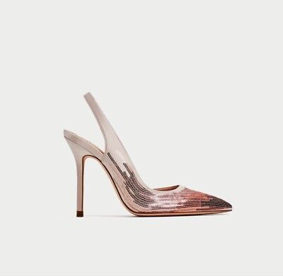 bb7312ad390 ZARA SEQUINED HIGH HEEL SLINGBACK SHOES PINK SZ 6.5 US 37 EUR Great 4  Holidays!