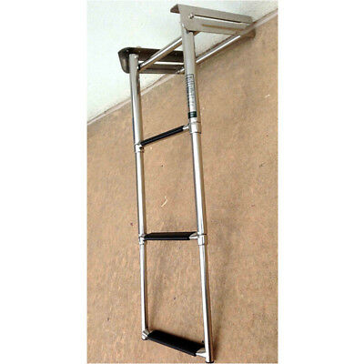 3 Steps Boat Ladder Marine Stainless Steel Swim Inboard Folding Ladder Universal