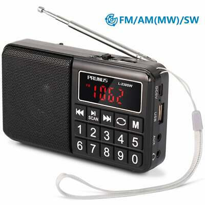 PRUNUS Portable SW / FM / AM(MW)/SD/USB MP3 radio with neodymium speaker.