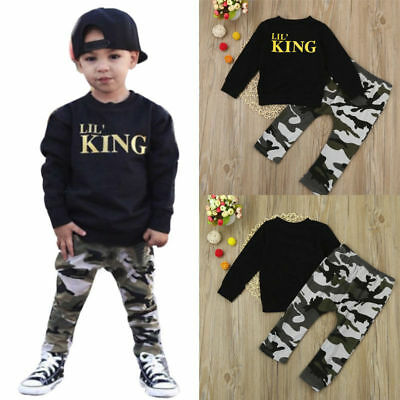 2PCS Toddler Kids Baby Boy Letter T shirt Tops+Camouflage Pants Outfits Clothes