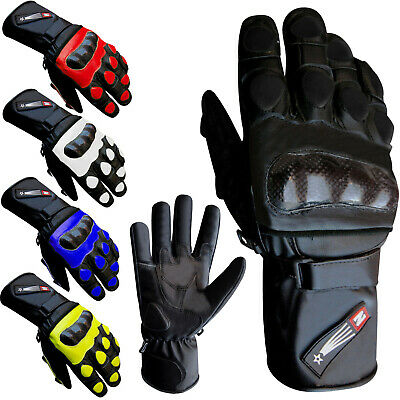 Leather Motorcycle Gloves Racing Winter Motorbike Thermal Knuckle Protection