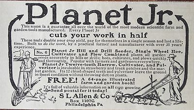1912 Ad (Xa8)~Planet Jr. No.6 Drill Seeder, Cultivator And Combined Plow