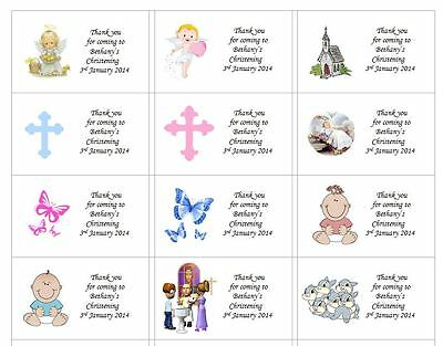 63 x PERSONALISED CHRISTENING, BAPTISM, HOLY COMMUNION FAVOUR STICKY LABELS