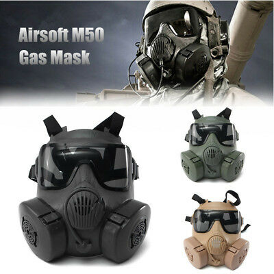 Airsoft M50 Paintball Gas Protective Mask Googles Double Filter CS Full Face