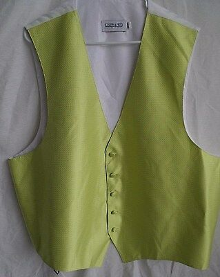 JOSEPH & FEISS Mens Vest Waistcoat Size 2XF Yellow Brocade 5 Button Adjustable