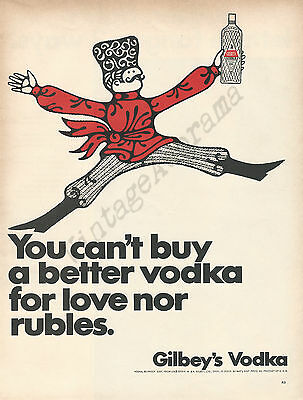 Gilbey's Vodka Original 1967 Vintage Color Print Advertisement - Russian Dancer