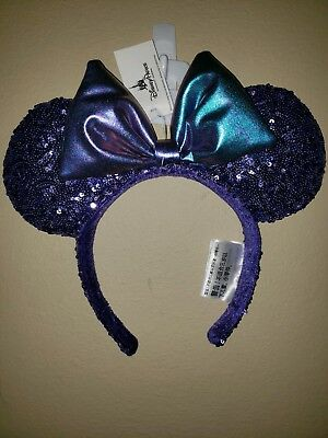 NEW Disney Parks authentic Potion Purple Sequined Minnie Mouse ears Headband