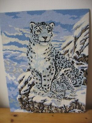 Vintage Snow Leopard & Cub on Snowy Mountain  Completed Wool Tapestry DMC 1999