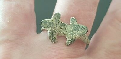 Ultra rare Superb Roman bronze Turtle ring part. Please read description. L122d