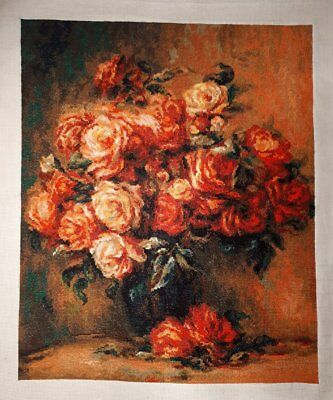 CROSS STITCH - COMPLETED, FINISHED Roses picture based on painting of Renoir