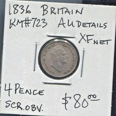 Great Britain - Great Historical William Iiii Silver 4 Pence, 1836, Km# 723