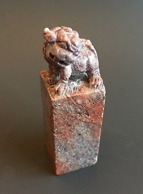 Antique Chinese Hand Carved Stone Foo Dog Seal Stamp China