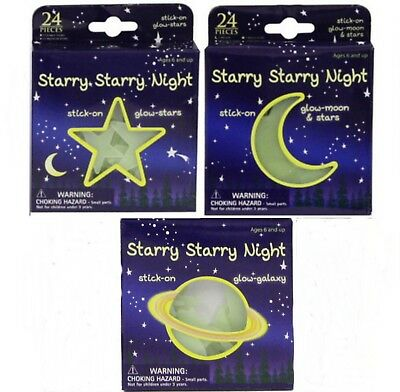 72pc (3x24) Glow in the Dark Stickers Moon Stars Planets Childs Kids Party Bag