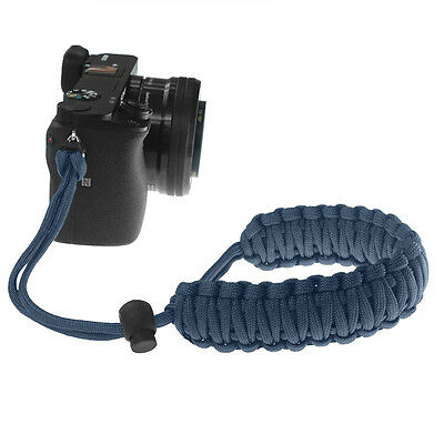 Dark Navy Blue Braided 550 Paracord Adjustable Camera Wrist Strap Bracelet