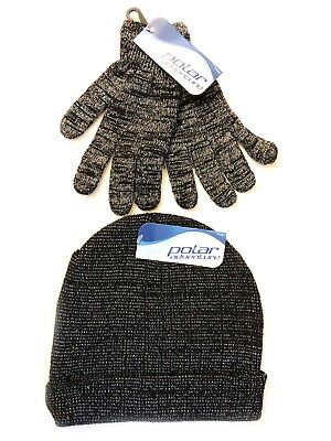 Polar Adventure Black And Silver Hat And Gloves Set - Girls