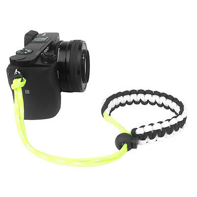 Black/White/Yellow Braided 550 Paracord Adjustable Camera Wrist Strap Bracelet