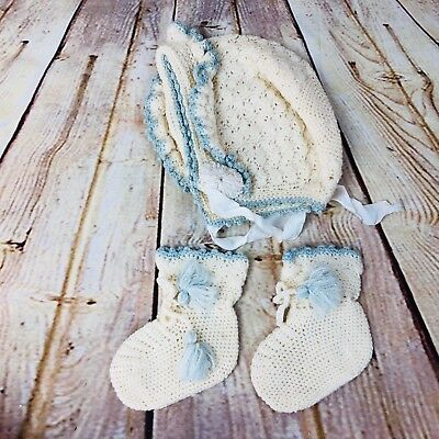 vintage handmade knit bonnet and booties set