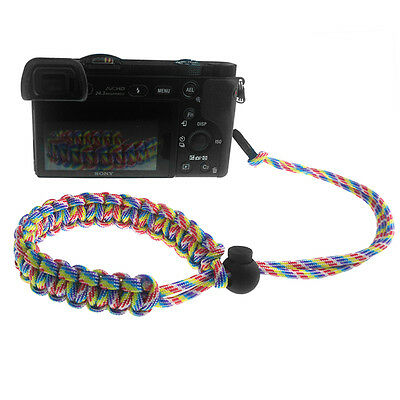 Rainbow Quick Release Braided 550 Paracord Adjustable Camera Wrist Strap