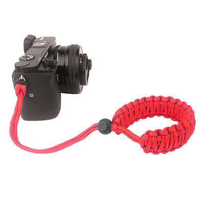 Red Braided 550 Paracord Adjustable Camera Wrist Strap Bracelet