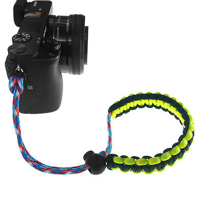 Yellow/Black Braided 550 Paracord Adjustable Camera Wrist Strap Bracelet