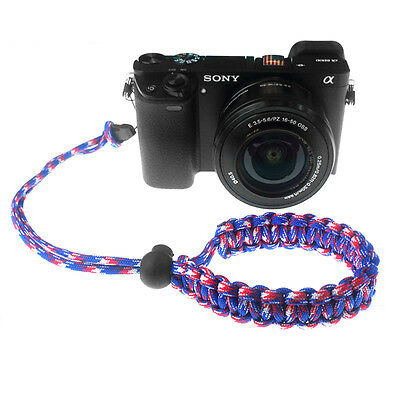 Red/Blue/White Quick Release Braided 550 Paracord Adjustable Camera Wrist Strap