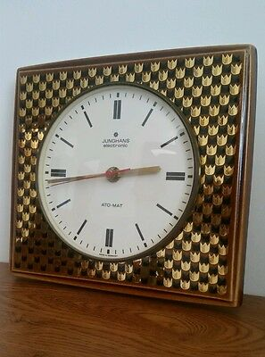 50' Unusual Junghans Ato-Mat Electronic Gold Ceramic Kitchen Wall Clock German