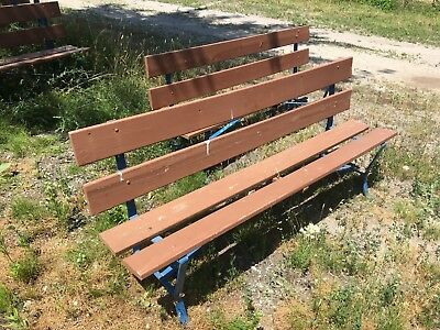 6' Vintage Garden Bench With Metal Frame & Wooden Seats -6 Benches Available