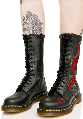 Eye Leather Softy Red Dr On Side Zip Vonda Roses 14 Black Martens nxfA0Azqw