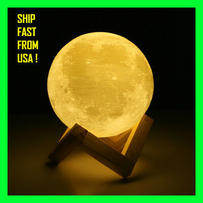 3D Lights Print Moon Lamp 2 Color Touch Switch Moon Light Bedroom Decor gift NEW