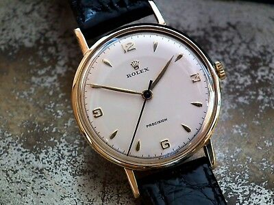 Just Beautiful 1954 Solid 9ct Gold Coin Edge Rolex Precision Gents Vintage Watch