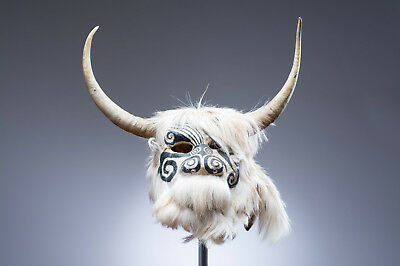 DEVIL MASK crafted with goat skin leather & horns from Guerrero. Mexican Dance
