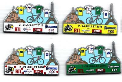 pins SERIE 4 PIN´S VELO, TOUR DE FRANCE 2016 FINITION ARGENT, MONT ST MICHEL,TOU