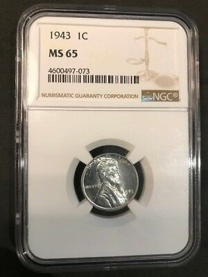 1943 1c Lincoln Steel Wheat Cent NGC MS 65