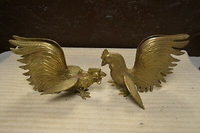 Vintage Pair Large Solid Brass Fighting Cocks Roosters Art Deco