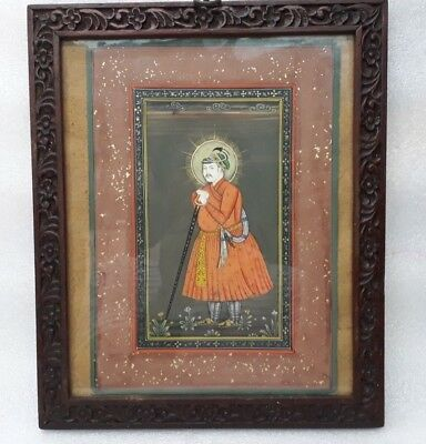 Vintage Old Indian Miniature Painting Mughal King Portrait Carved Framed