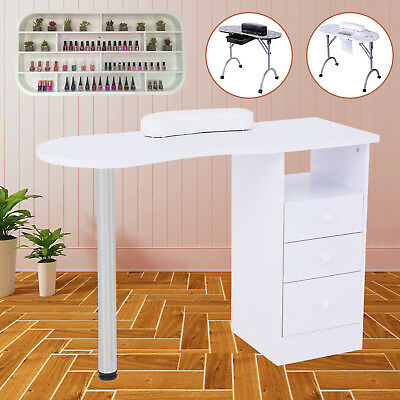 Portable Manicure Nail Table Art Beauty Salon Desk with Drawer White/Black