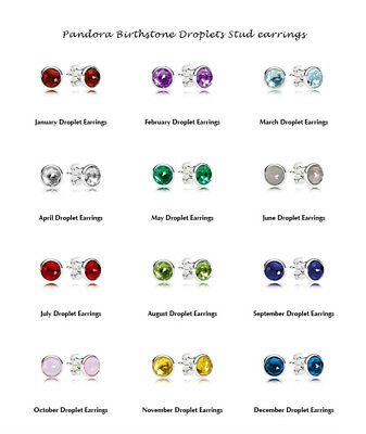 Genuine Pandora Sterling Silver Birthstone Droplets Stud earrings