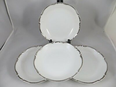 "Harmony House? Starlight  Fine China Set of 4  Salad Bowls 7 3/4""Platinum  EUC"