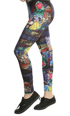Disney Beauty & The Beast Stained Glass Leggings Yoga Pants Size Small NWT!