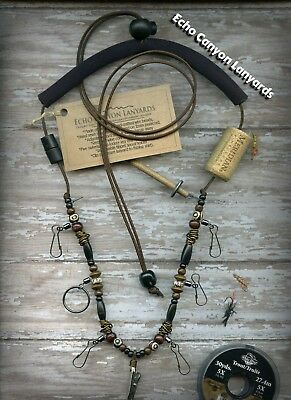 Fly Fishing Lanyard-Handcrafted w/Tippet Holder, Buffalo Horn & Bone Mala Beads
