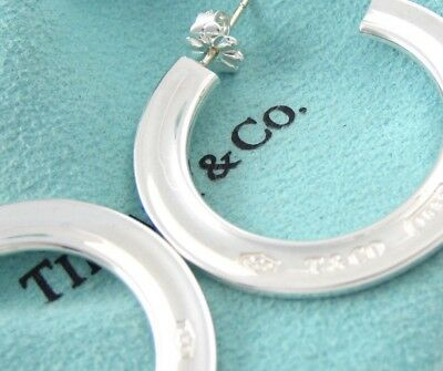940e5636c Tiffany & Co. Sterling Silver Large 1837 Flat Hoop Earrings in Tiffany  Pouch Box