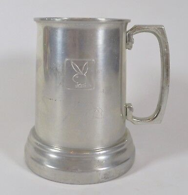 Vintage Aluminum 60s PLAYBOY Glass Bottom Beer Tankard Stein Mug Cup Collectible