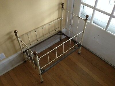 Antique Iron Baby Bed / Crib with Brass Knobs - Hospital Bed 1890 - 1910
