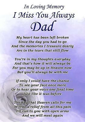 I Miss You Always Dad Memorial Graveside Poem Card & Free Ground Stake F326