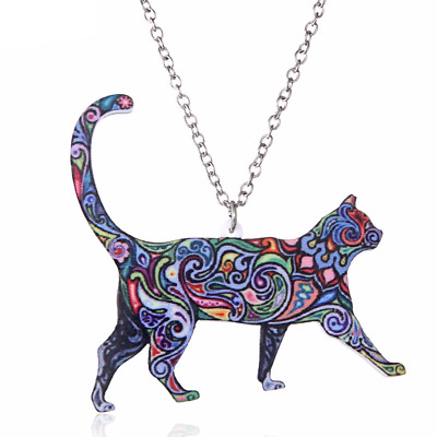 Acrylic Cat Kitten Pet Colourful Enamel Necklace Pendant Jewellery Film Gift Bag