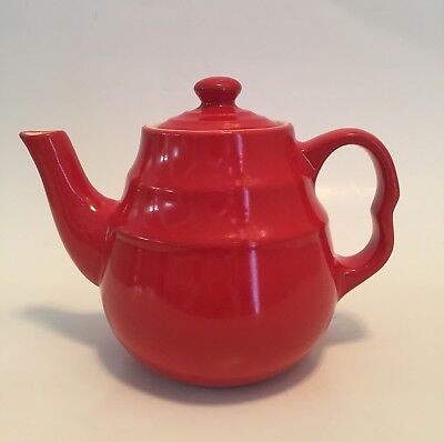 Universal Cambridge Pottery UPC Oxford Tea For 1 Beehive Teapot Radioactive Red