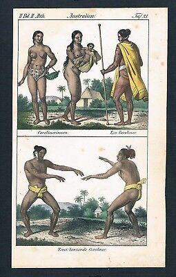 1830 Caroliner Australia costumes Lithographie lithograph