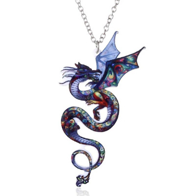 Acrylic Chinese Dragon Colourful Mythical Necklace Pendant Jewellery Gift Bag